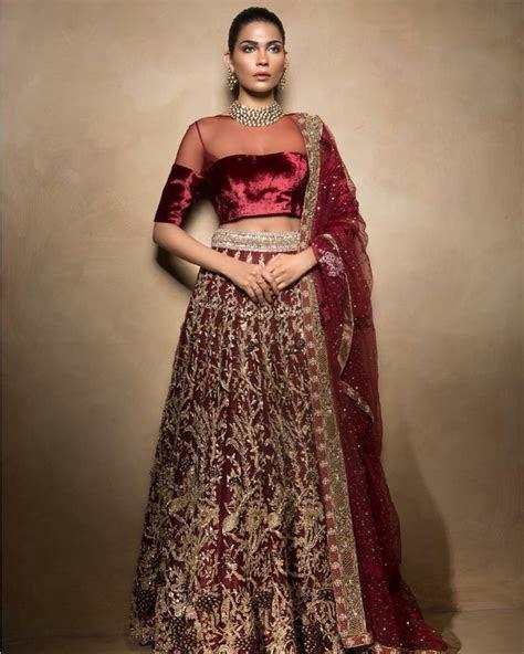 Pakistani Indian Bridal Dress   Maroon Lehenga Choli