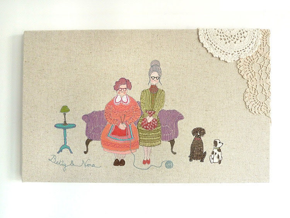 Embroidery Original Art Canvas - 'Betty & Nora' Figurative Textile Artwork. Purple, orange, turquoise, olive