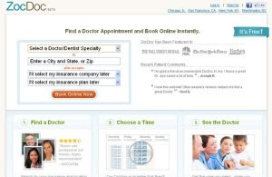 Want a same day doctor's appointment? Use ZocDoc (now with an iPhone App)