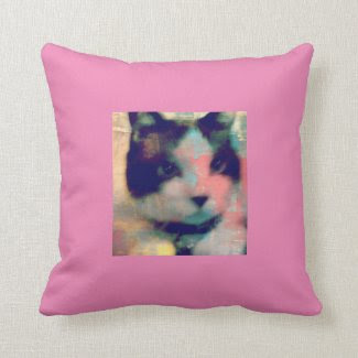 snowshoe paint party kitty pillow