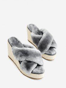 Faux Fur Criss Cross Wedge Heel Slippers