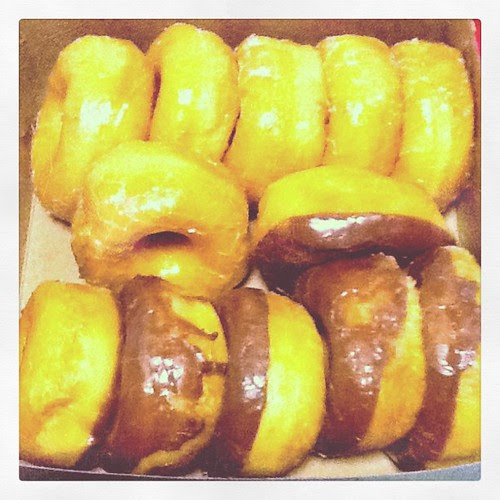 Hot glazed and Chocolate donuts from Crown Bakery