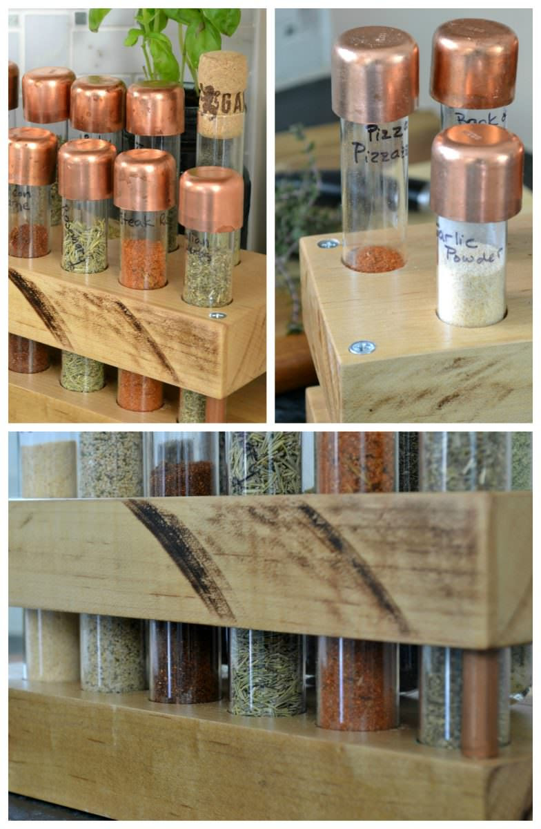 diy spice rack with test tubes tutorial