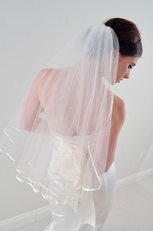 Never worn veil for sale - Satin ribbon edge with crystals :  wedding veil never worn etsy blue white ceremony Il 570xN 214795465