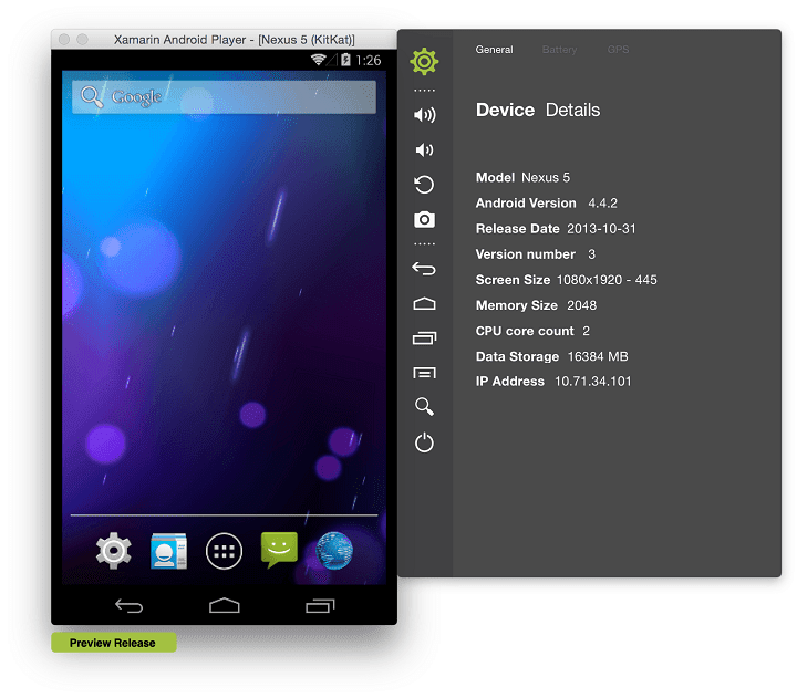 Xamarin Android Player windows android emulator