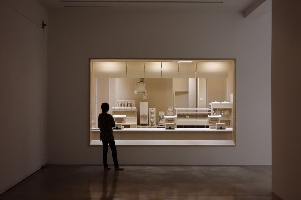 Carcass: A Scale Replica of a Fast Food Kitchen Carved Entirely from Wood by Roxy Paine wood installation fast food dioramas