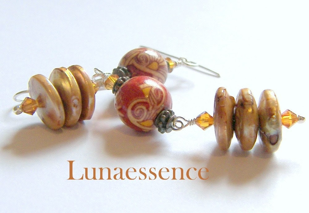 Red Wooden Golden Coin Pearl Stacked Earrings