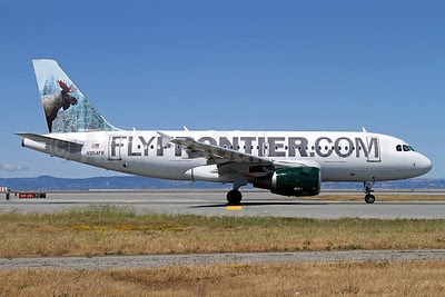 FlyFrontier.com (Frontier Airlines 2nd) Airbus A319-112 N954FR (msn 1786) (Bull Moose) SFO (Mark Durbin). Image: 912271.