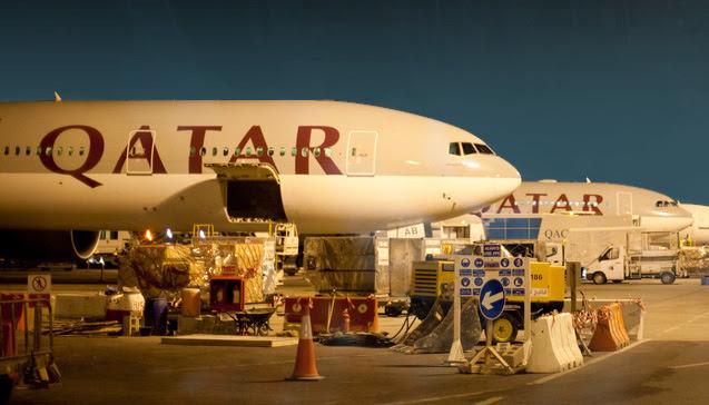 Qatar Airways Boeing 777 in Doha International Airport