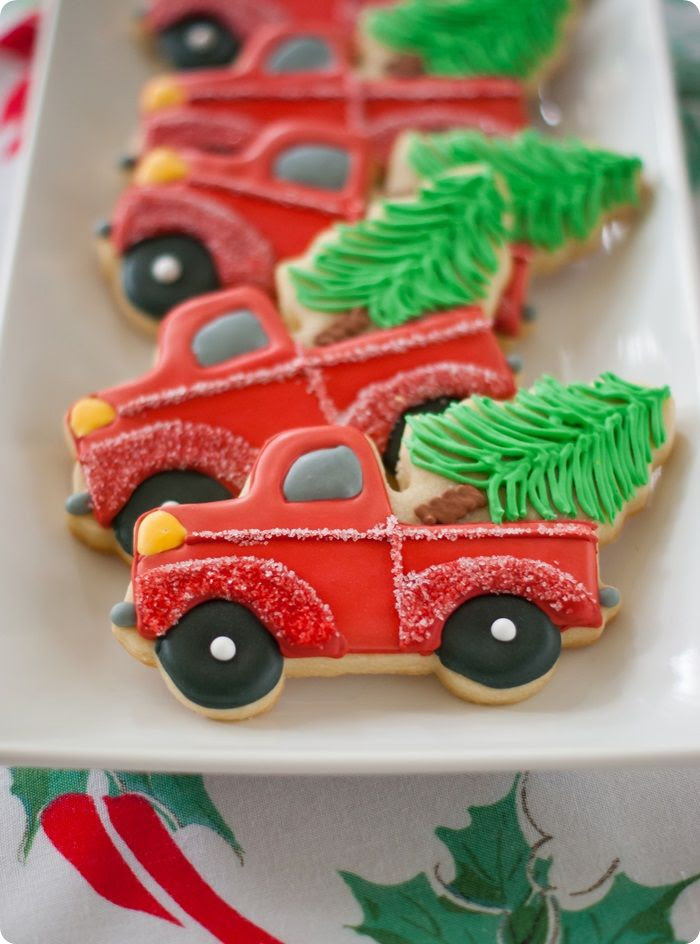 trucks with christmas trees cookies, decorating tutorial and link to cookie cutter