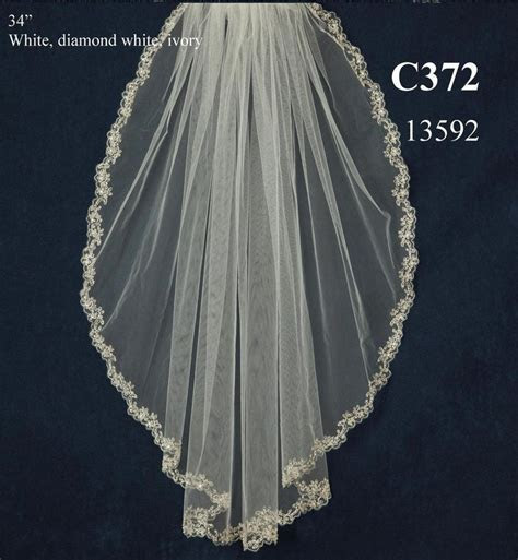 Beaded Lace Pattern Embroidery Wedding Veil C372
