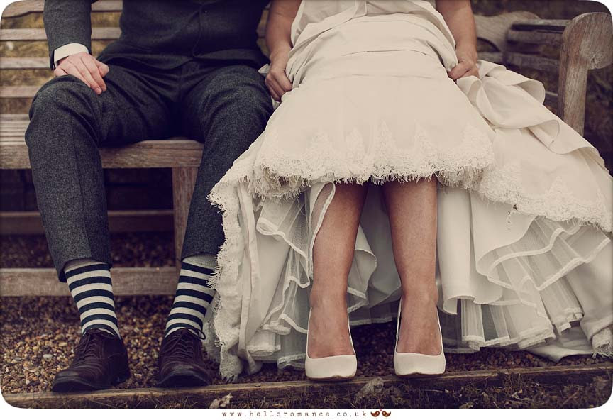 Bride and groom showing socks and feet Maison Talbooth Dedham Wedding Photography Essex - Sian and James - Hello Romance Wedding Photography