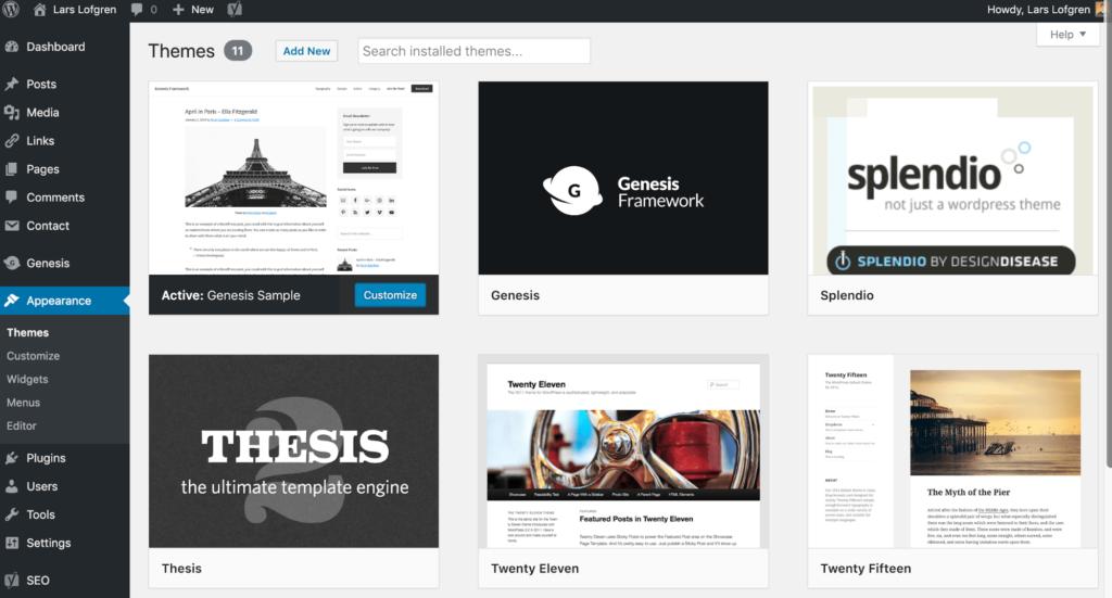 Manage WordPress Themes