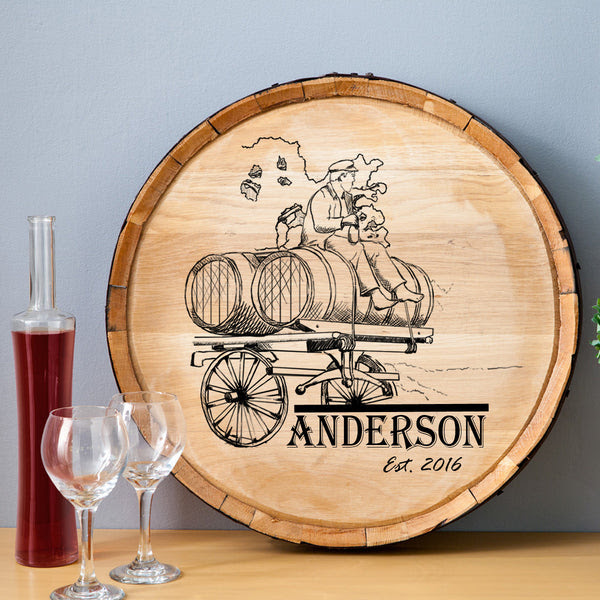 Wine Barrel Wagon Wood Sign