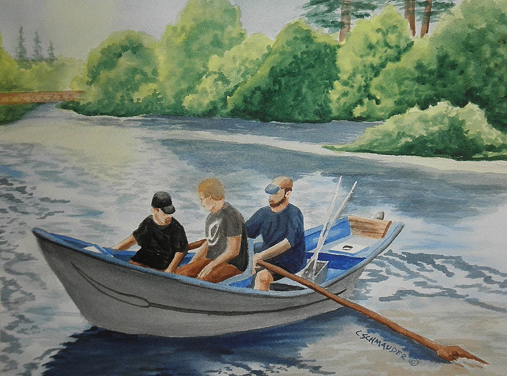 Goin' Fishin' on the Wynoochee - Limited Edition Print - CSchmauderWatercolor