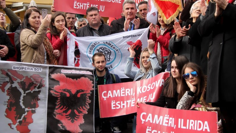 Members of the Albanian Cham community protest in front of the Greek Embassy demanding recognition of their property claims in Greece, Tirana, Albania, 24 February 2018. Albania and Greece are in a negotiating process on the sea border and other issues remaining from World War II such as cemeteries of Greek soldiers, impounded property from ethnic Cham Albanians that were expelled from their lands under charges of being Nazi collaborators. EPA, MALTON DIBRA
