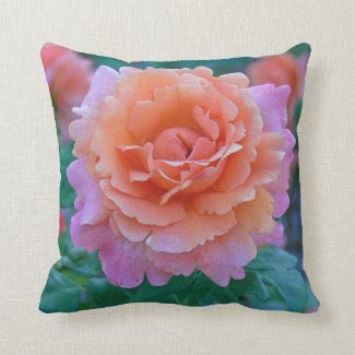 "ROSE / PEACHY-PINK COLORS WITH GREEN FOLIAGE"" (PHO THROW PILLOW"
