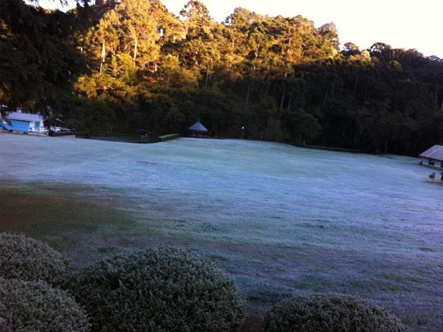Temperatura abaixo de zero voltou a provocar geada na região (Foto: Nélson Tavares Pacheco)