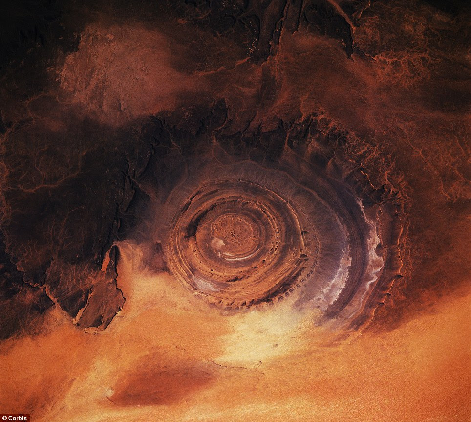 A view from the space shuttle Columbia of the Richat Structure in the Mauritanian desert
