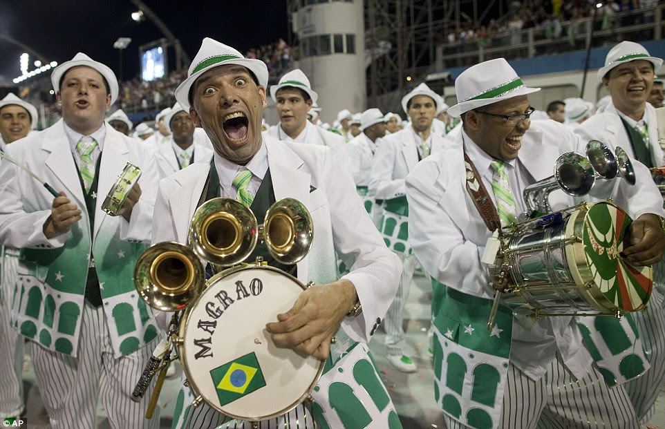 Big band: drummers from the Mancha Verde samba school make some nois