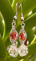 Wire Wrapped Colorful Swarovski Crystal Earring Set