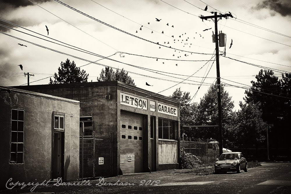 Portland Photo Old Garage, Birds, and Mini Cooper--Fine Art Black and White Photography 8x12 - ThePDXPhotographer