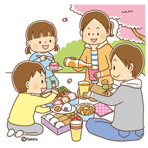 クリップアートお花見をする家族のイラスト 子供と動物のイラスト屋