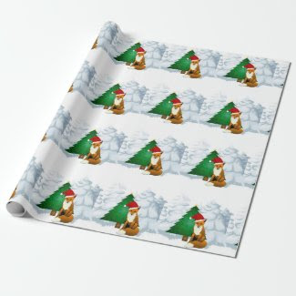 Fox with Christmas Tree Wrapping Paper for Kids