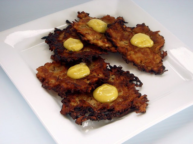 Caramelized Onion Latkes with Aioli