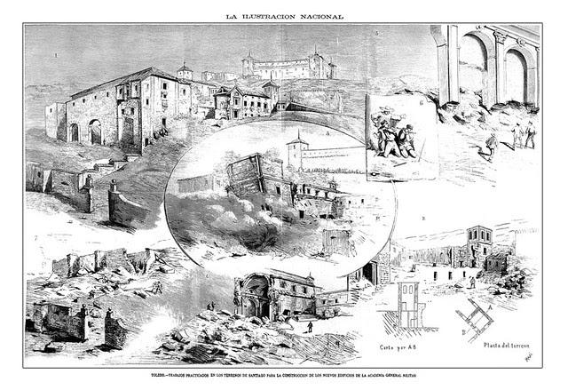 Xilografía de la voladura del Hospital de Santiago en 1884 por José Masí del Castillo publicada en La Ilustración Nacional
