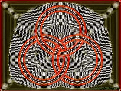 Geometric Art Isolines of Borromean Rings, Three Circles, Parallel Lines.