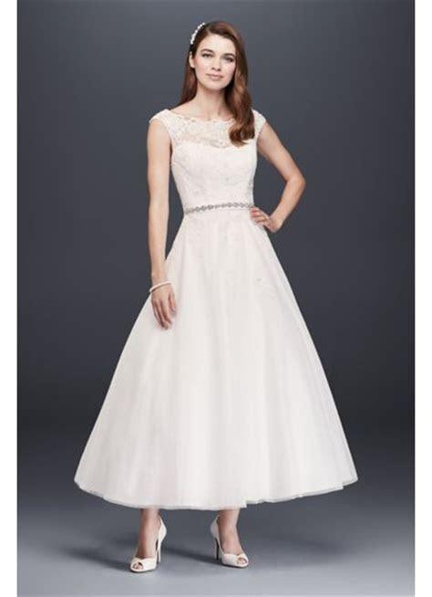 Tea Length Tulle Illusion Neckline Wedding Dress   David's