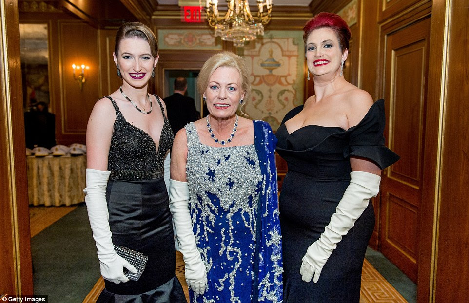 As well as the young society women, former debutantes and family members also attend. Pictured: Irene Kauffman and family