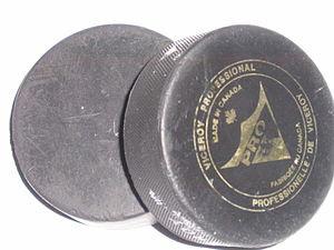 Two standard hockey pucks