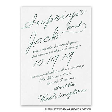 Exquisite Penmanship Foil Invitation   Invitations By Dawn