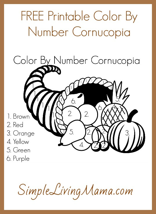 FREE Printable Color by Number Cornucopia   Free ...