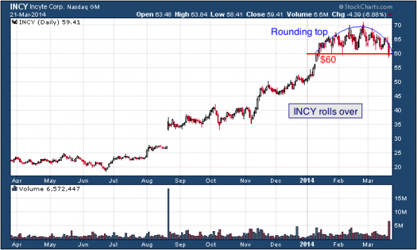 1-year chart of INCY (Incyte Corporation)