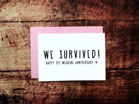 Funny 1st Anniversary Card, We Survived! 1 Year Wedding