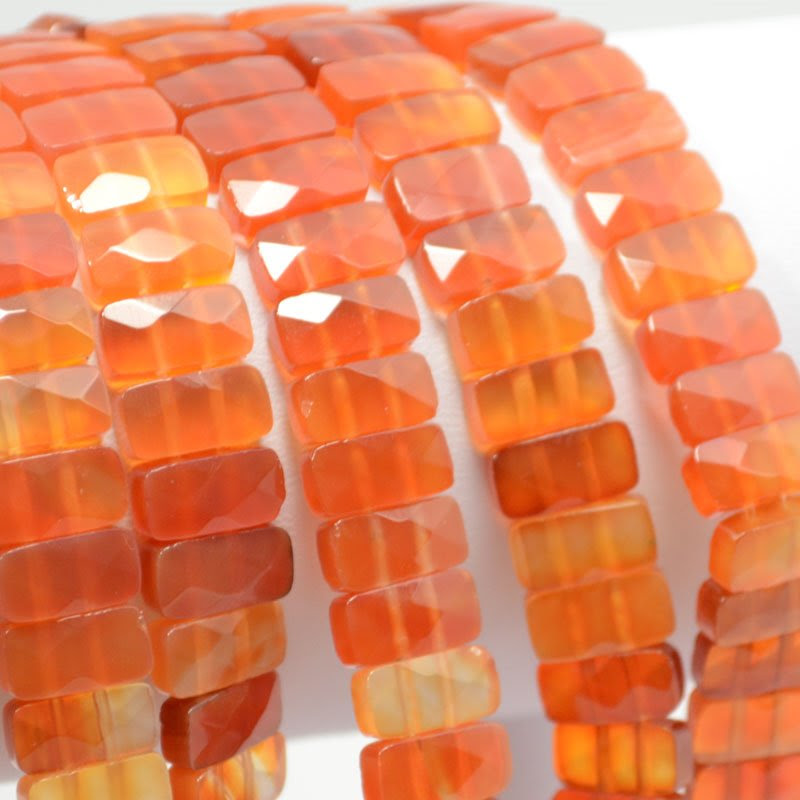 s37507 Stone Beads - 10 x 5 mm Faceted Double Drilled Rectangle - Carnelian (1)