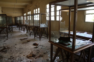 Rows of display cases are broken and empty at the Malawi…