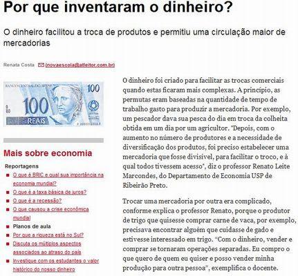 Portal Do Professor De Onde Vem O Dinheiro