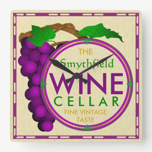 Wine Cellar Grapes Design Square Wall Clock - Personalized with Any Name