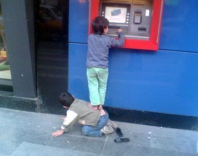 Kids at ATM