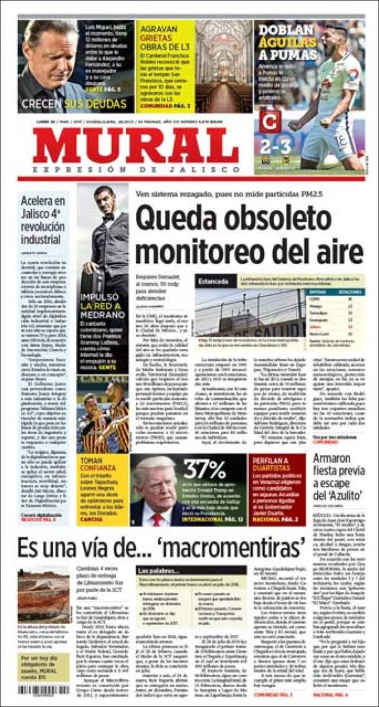 Newspaper El Mural Mexico Newspapers In Mexico Monday S Edition