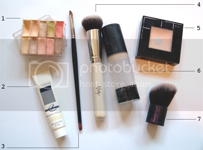 Foundation, concealer, powder, makeup brushes