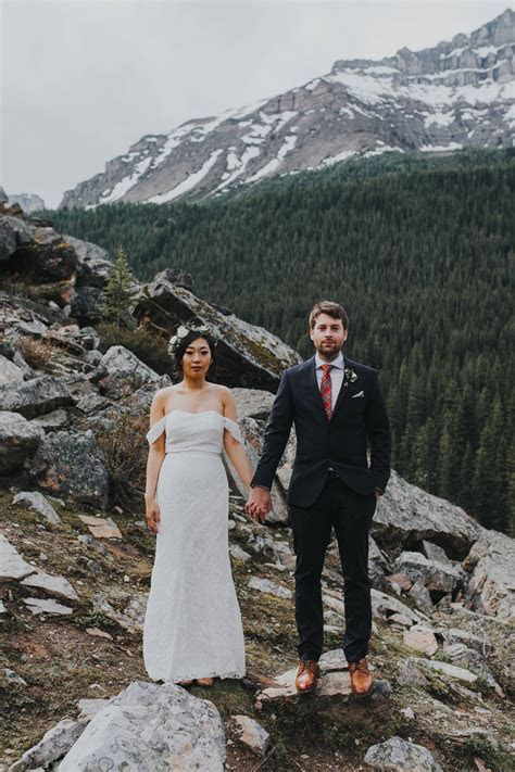 Intimate Moraine Lake Wedding  Moraine Lake Real Wedding