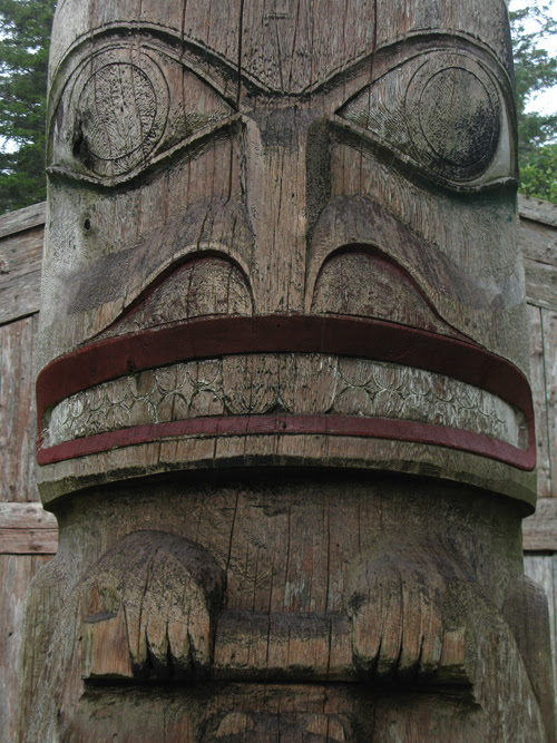 close up of beaver figure, Chief Son-i-Hat Whale House, Kasaan, Alaska