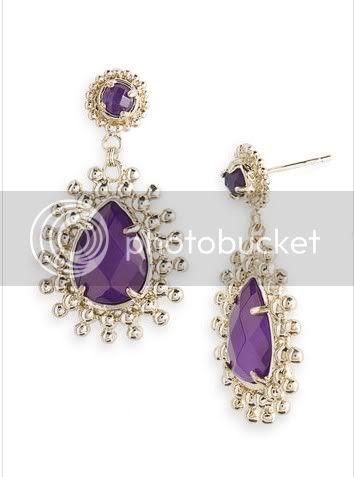 Earrings Purple and Gold Silver Earrings
