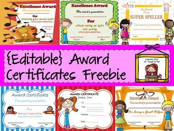 Reward your students with this pack of 8 editable award ...
