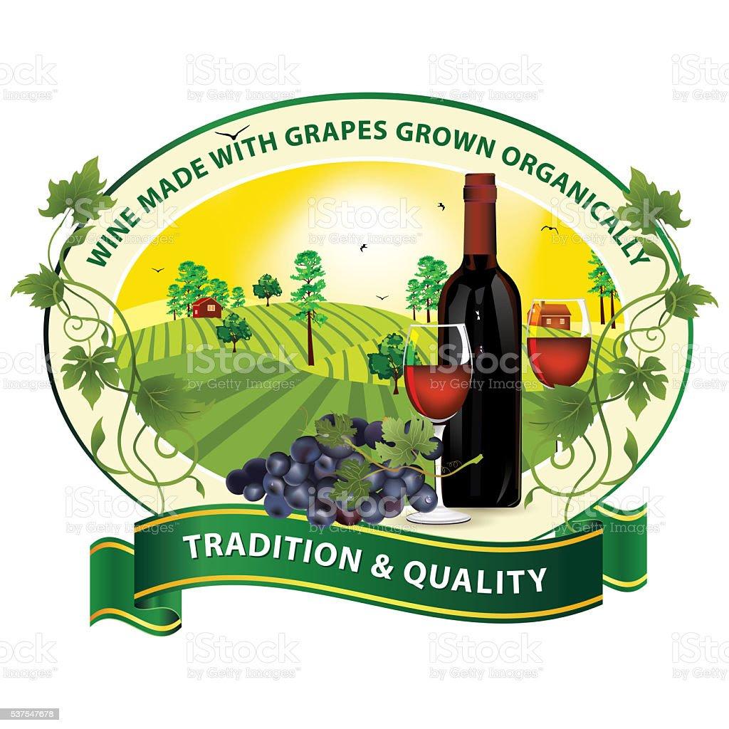 Wino Z Winogron Uprawiane Organicznie Etykiety Stockowa Ilustracja